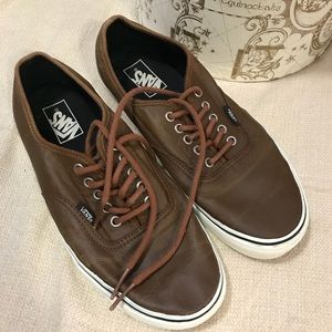 vans era brown aged leather trainers